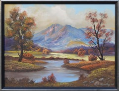 Mountain and Pond in Autumn Landscape