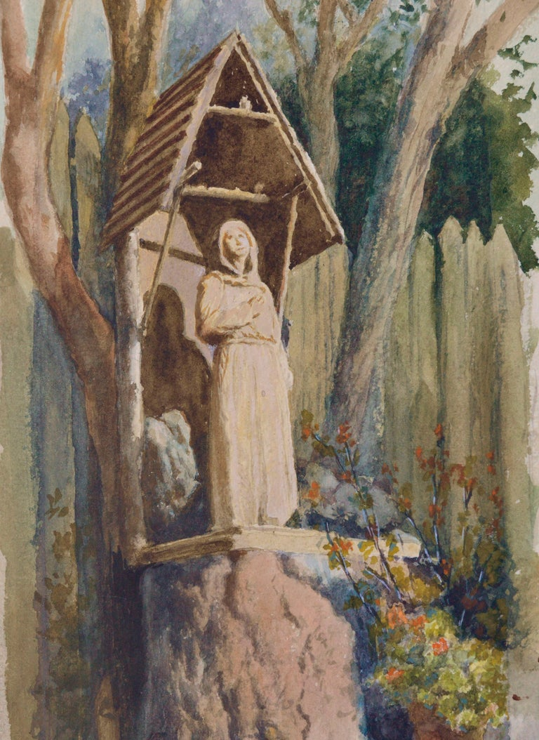 Statue of an Ascetic (The Hermit) - American Impressionist Art by Theodore Ernest Langguth