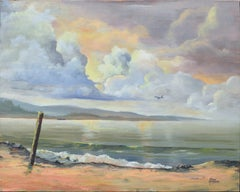 Mid Century Coastal Clouds Sunrise Seascape