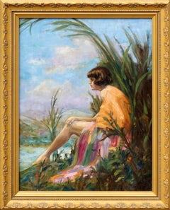 Art Deco Woman Portrait at Lake Bon Tempe Mt Tamalpais Landscape