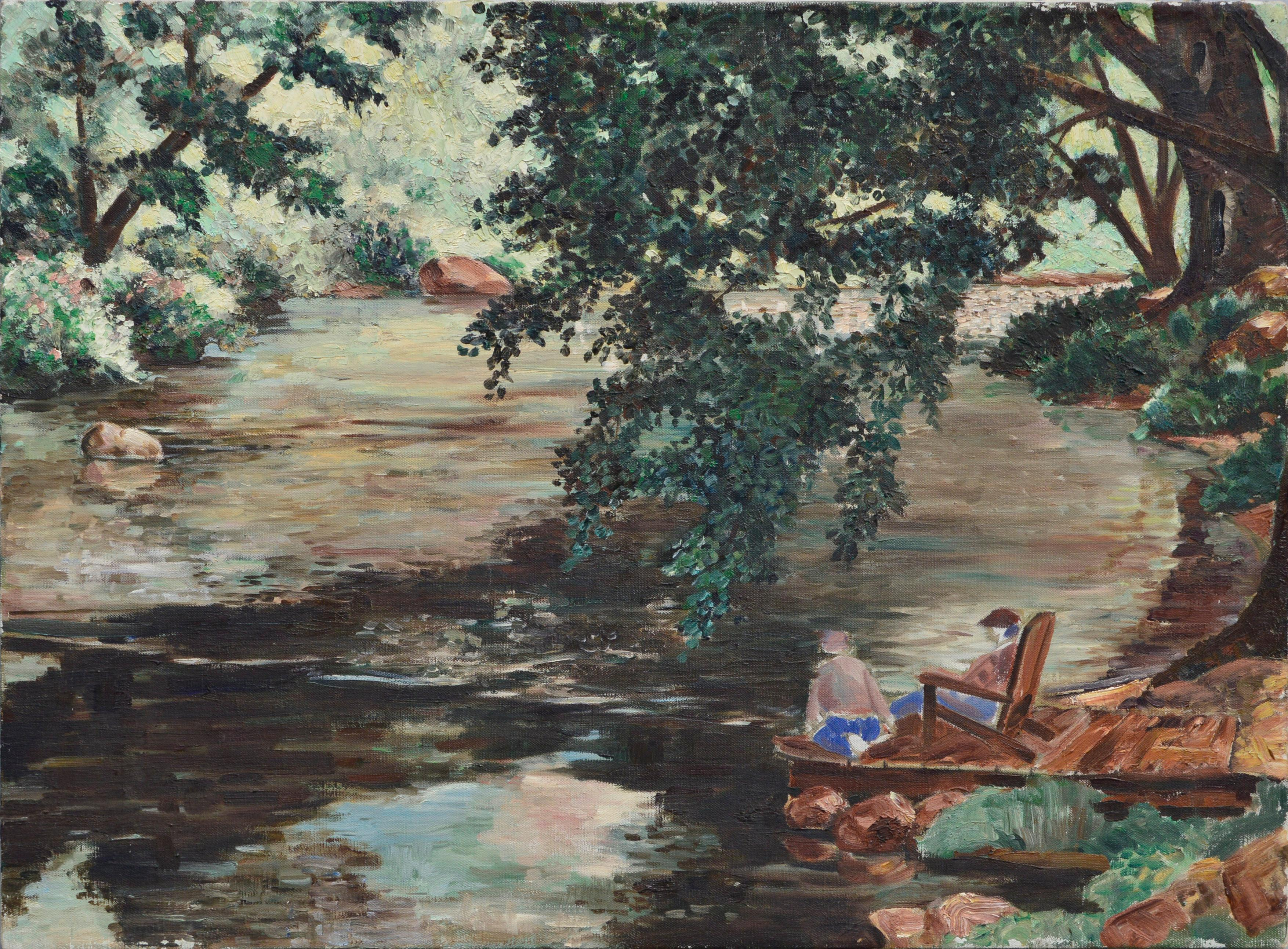 Sitting by the Lake, Mid Century Figurative Landscape