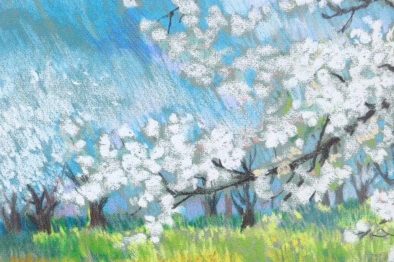 Cherry Blossoms Landscape - Gray Landscape Art by Therese Nolan Krassowski