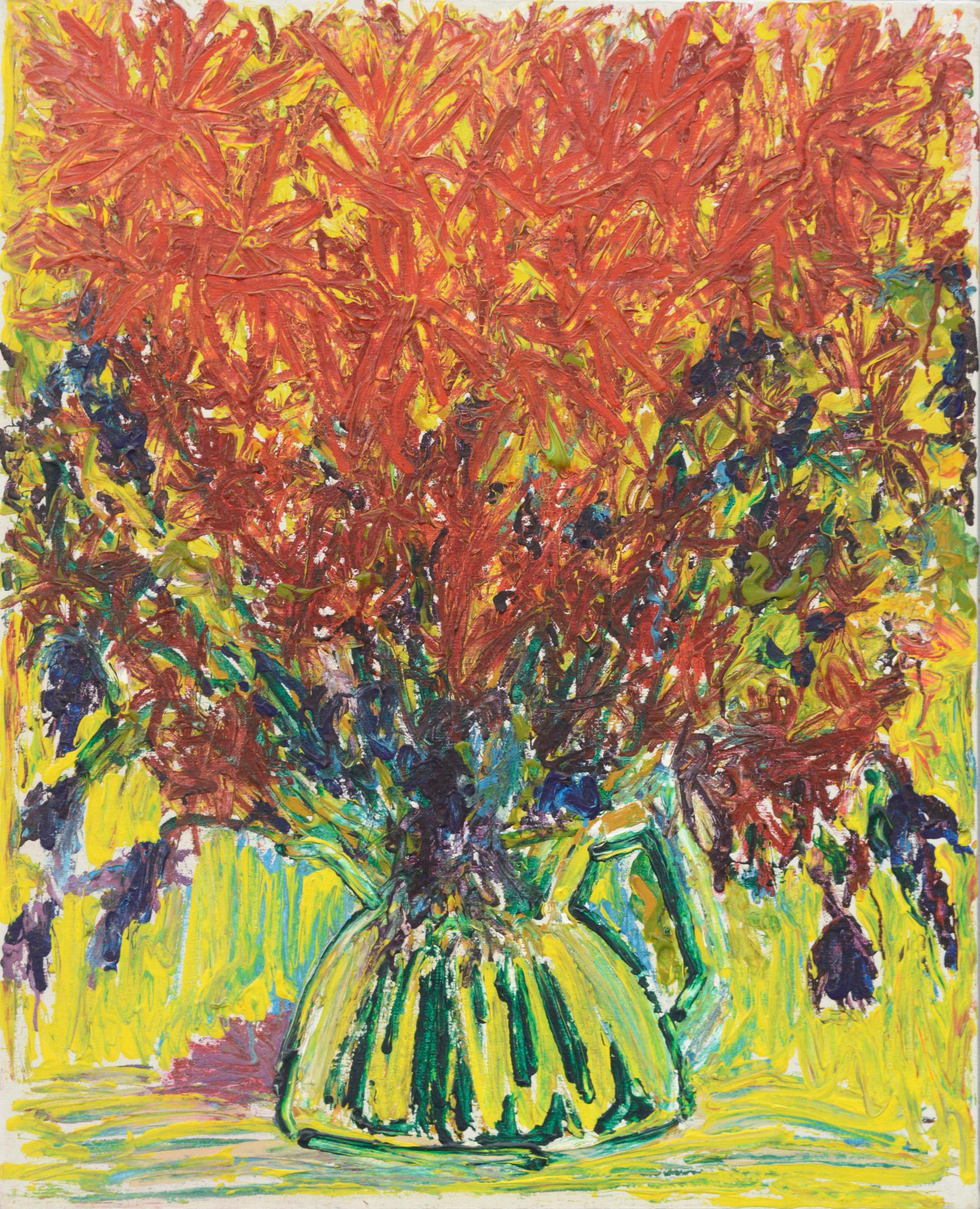 Abstract Expressionist Red Floral Still Life