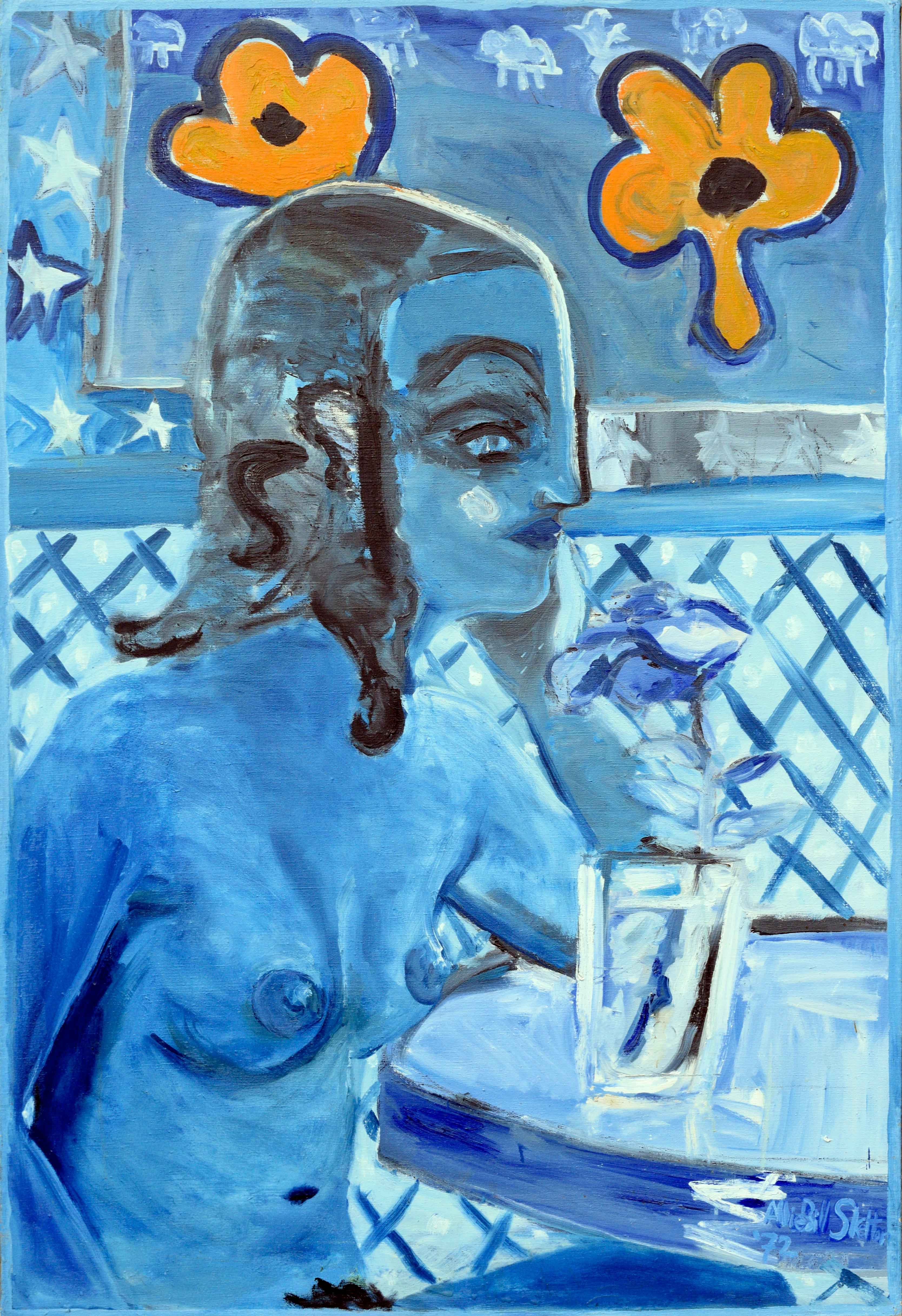 Modernist Blue Nude in Profile - Figurative Abstract