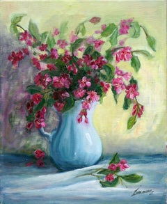 Weigela in Blue Pitcher Still Life