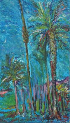 Large Mid Century Palm Trees Landscape