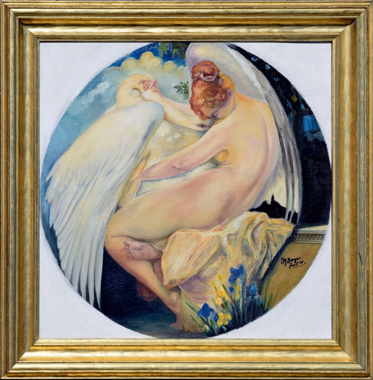 F. M. Berger Nude Painting - Leda and the Swan