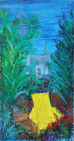 Abstract Expressionist San Francisco Nocturnal Landscape with Adirondack Chair