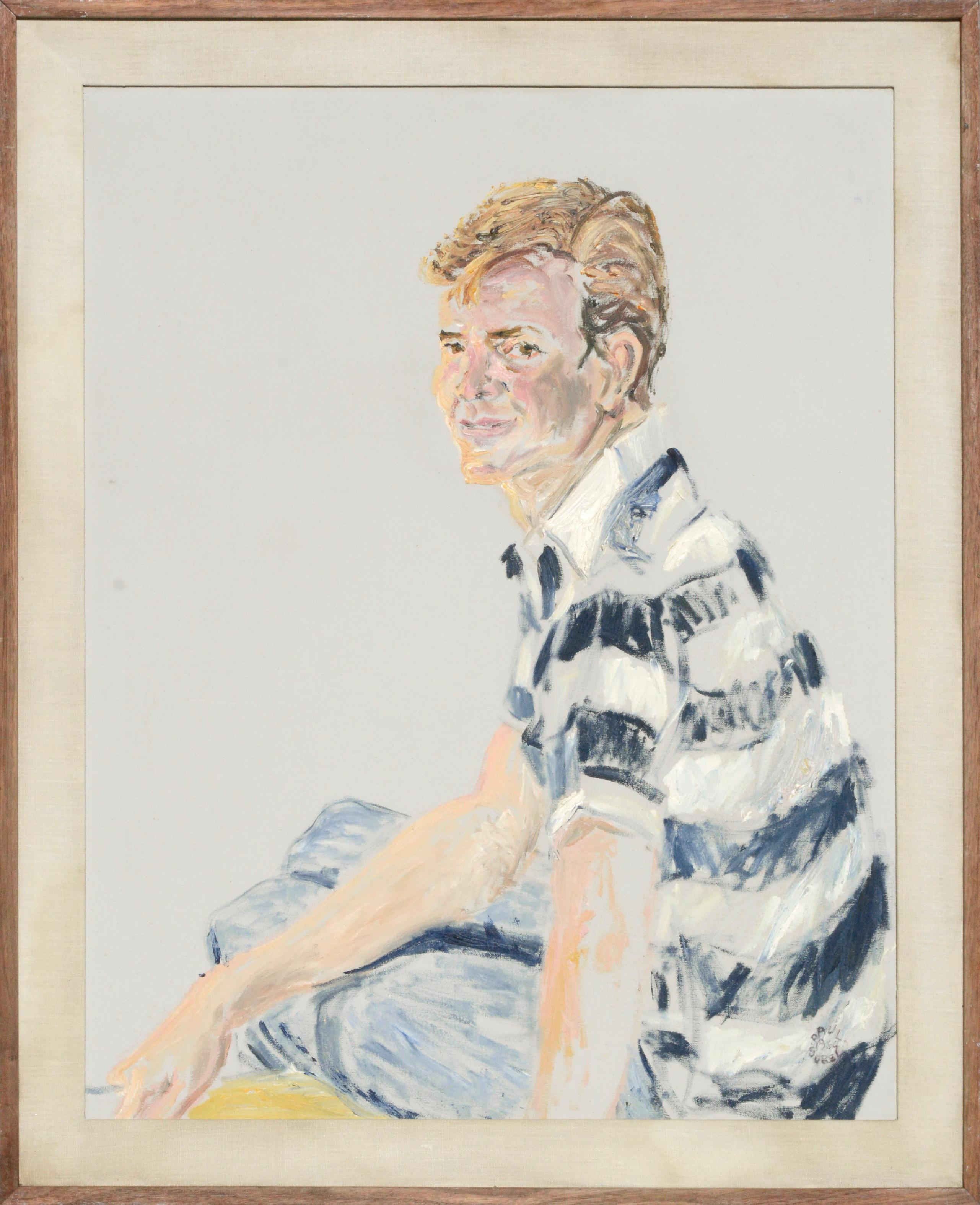 Portrait of a Young Man in Striped Shirt