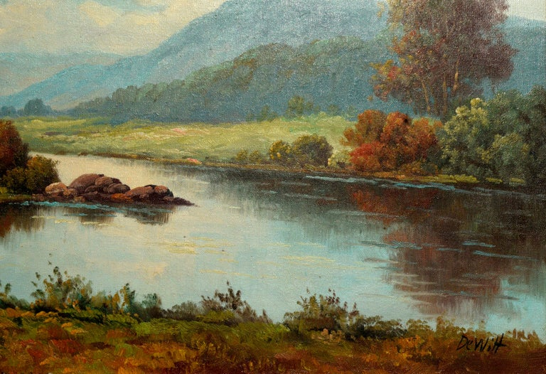 Peacful California Landscape of River and Mountains - American Realist Painting by Robert DeWitt