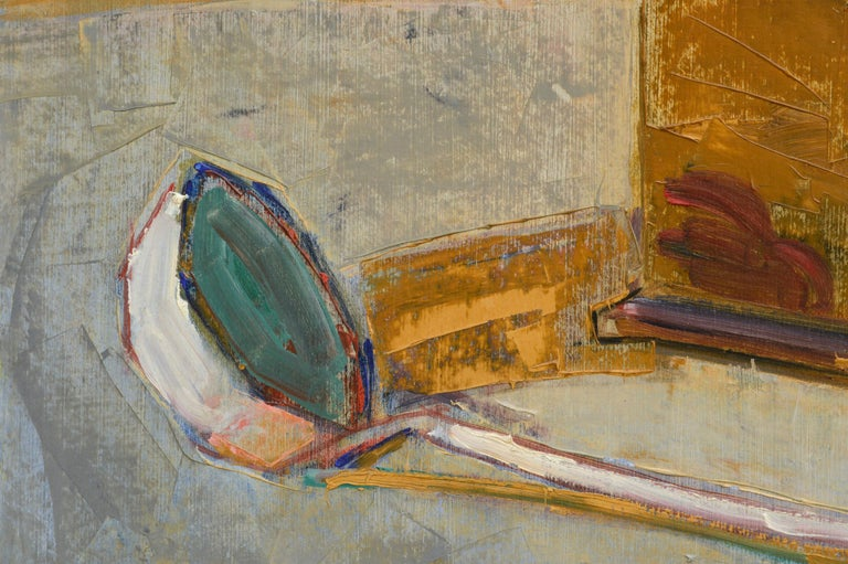 Still life with a coffee grinder, ladle, and measuring cup by Maurice Blond (Polish, 1899-1974). Signed