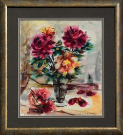 Mid Century Pink Roses Floral Bouquet Still Life Watercolor