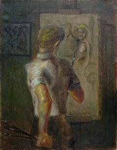 Artist Working At His Easel in WPA Style Michael Tanzer New York 1961-67