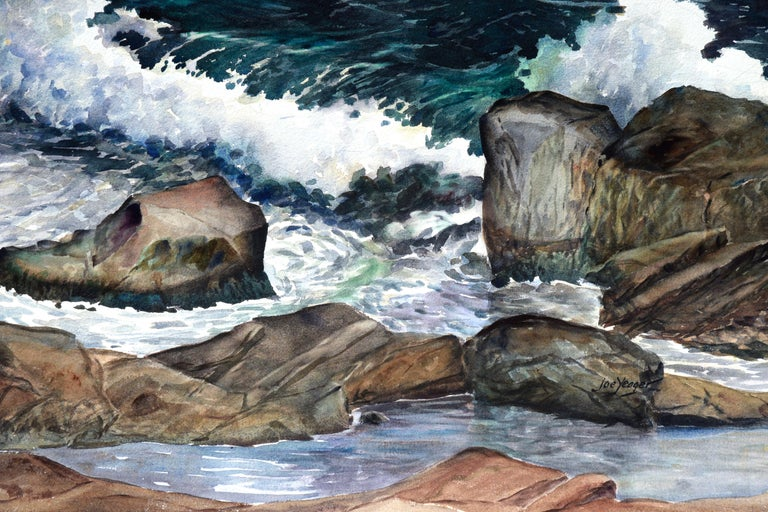 Stormy Rocky Coast Seascape  - American Impressionist Painting by Joseph Yeager