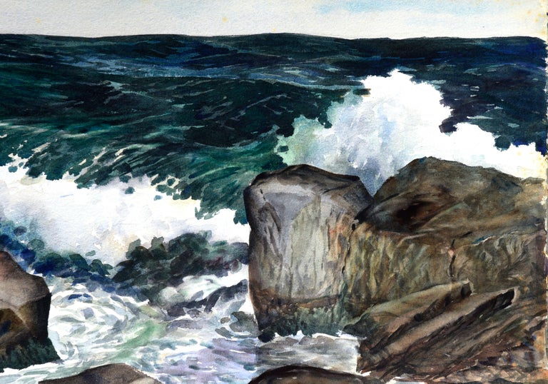 Stormy Rocky Coast Seascape  - Painting by Joseph Yeager