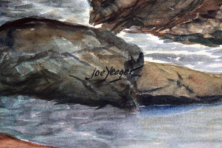 Stormy Rocky Coast Seascape  - Gray Landscape Painting by Joseph Yeager