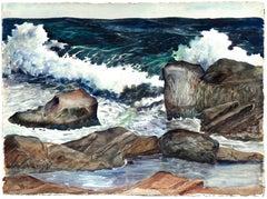 Stormy Rocky Coast Seascape