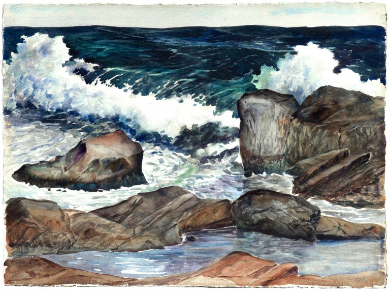Joseph Yeager Landscape Painting - Stormy Rocky Coast Seascape