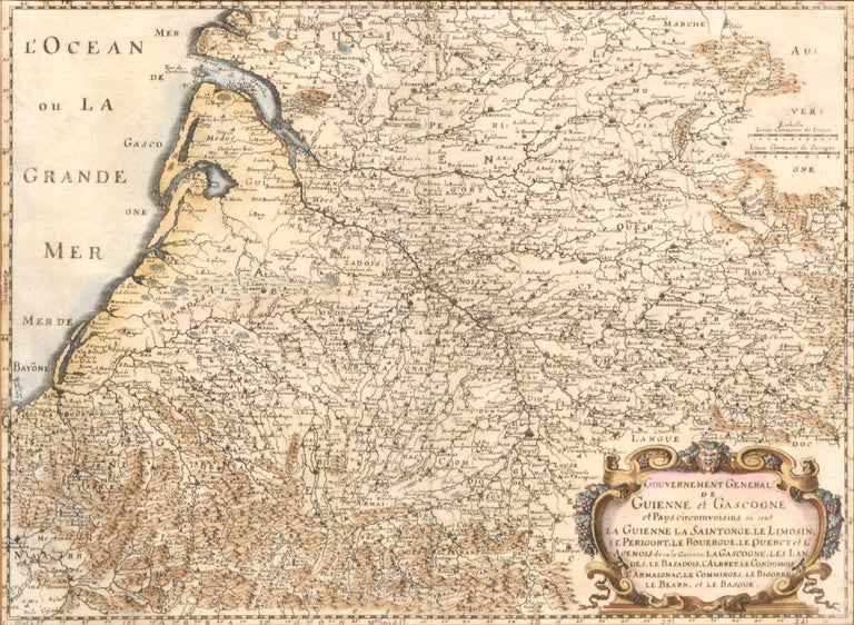 Guienne et Gascogne (Hand-Colored Map of French Provinces) 1