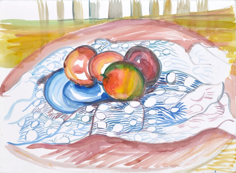 Bright still life on mat board by Virginia Hughins (American, 1923-2004). Unsigned and unframed.  Virginia Hughins (Virginia Brubaker DeWolf), (American, 1923-2004). Hughins was an accomplished artist, many of her watercolors could be seen around
