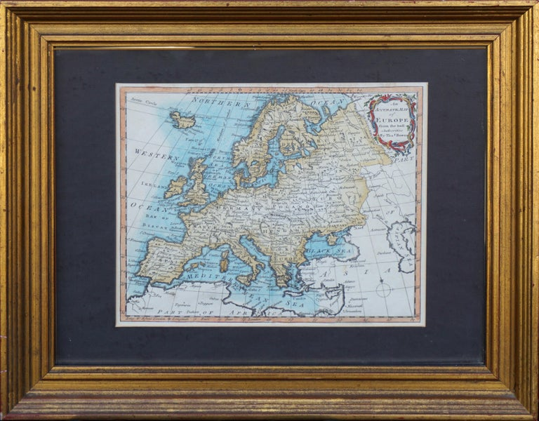 """18th Century map of Europe by Thomas Bowen (died 1790), C. 1770. Condition: Good; normal tonal aging. Image size: 8""""H x 9.75""""W. Presented in gilt toned wood frame under glass. Framed size: 14""""H x 17""""W x 2""""D.  was an English engraver of charts. He"""