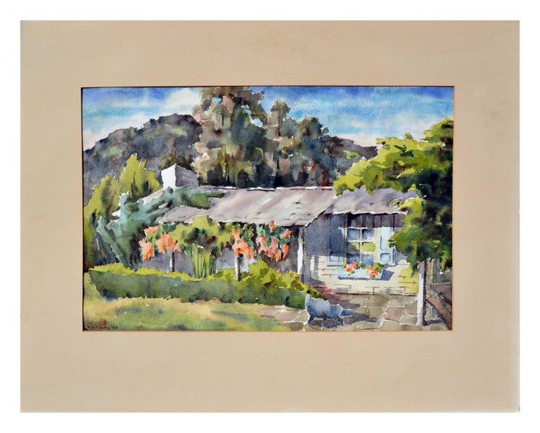 """Elegant landscape by Sidney Williams (American, 20th century). Signed """"Sidney Williams"""" and dated '62 in the bottom left corner. Some age wear to the mat. Image size, 16""""H x 23""""L. A Carmel area watercolor artist."""