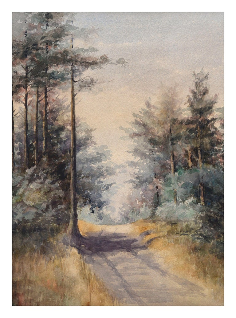 "Watercolor painting of a country road in San Rafael, California, circa 1880. Unsigned and unframed. Image, 17""H x 12""W"