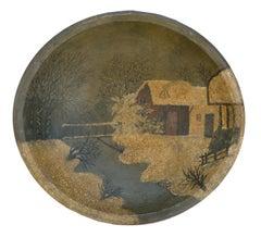 Folk Art Winter Cabin Painted Bread Bowl
