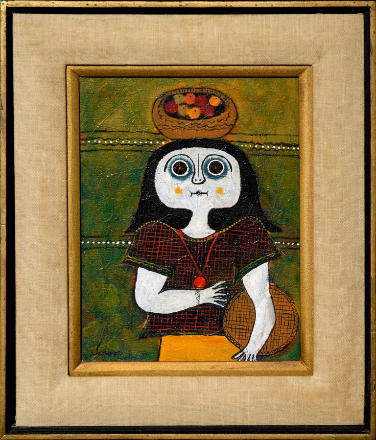 "Portrait of a confused women by Filipino artist. Signed ""Sison"" in bottom left corner. Presented in a black and gilt wood frame with a double liner of linen and gold. Image size: 12""H x 9""W"