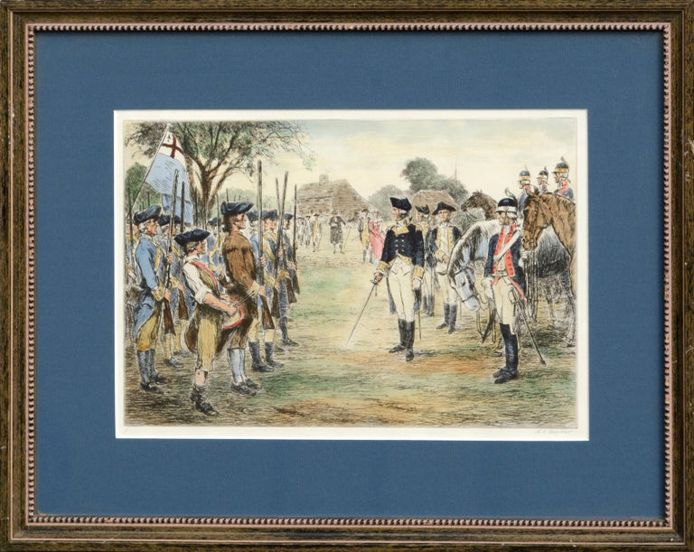 Ralph Ludwig Boyer Landscape Print - Washington Assumes Command - Hand Colored Engraving