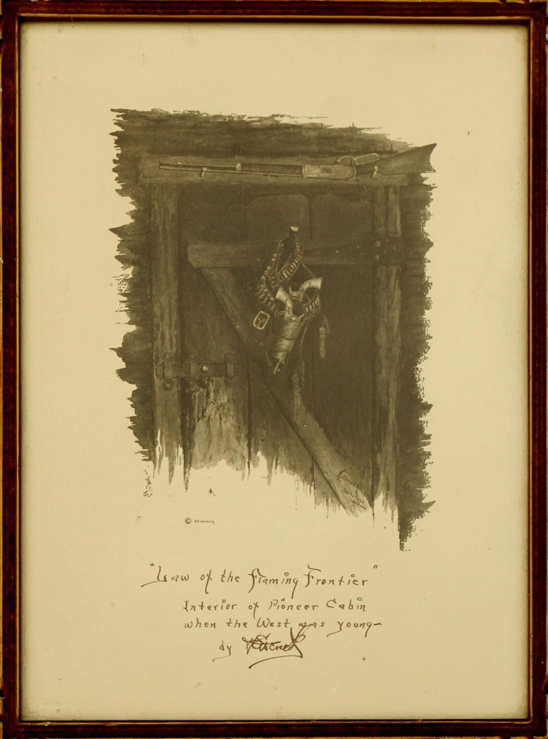 Harold Edgar Wenck Interior Print - Law of The Flaming Frontier - Western interior with Guns and Rifle