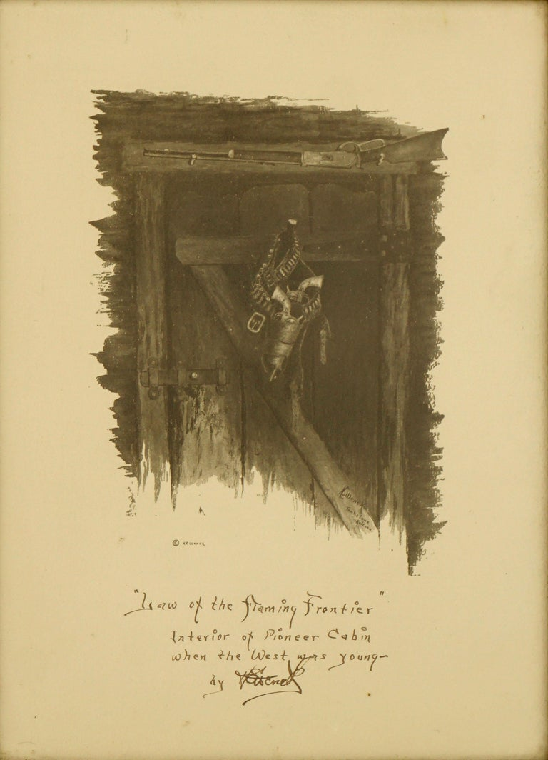 Law of The Flaming Frontier - Western interior with Guns and Rifle - Print by Harold Edgar Wenck