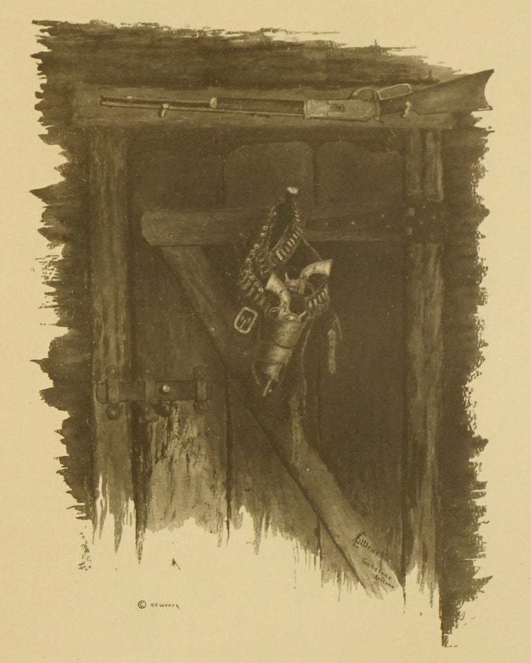 Law of The Flaming Frontier - Western interior with Guns and Rifle - Realist Print by Harold Edgar Wenck