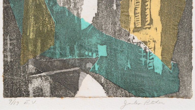 Layered paper and etching composition by Julia Pitcher (American, b. 1942). Numbered and signed (