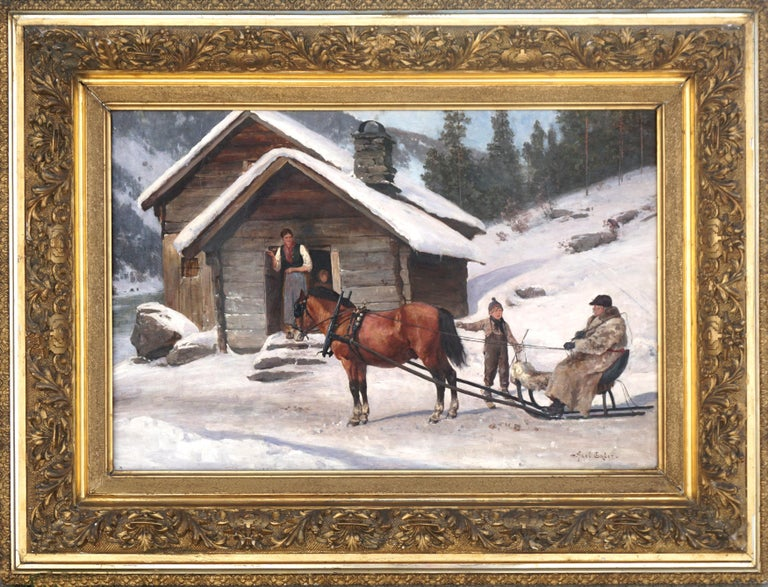 Wonderful turn-of-20th-Century winter's scene with horse sleigh and woman and son possibly giving directions to the driver by Alex Hijalmar Ender (Norwegian, 1853-1920), circa 1880-1900 in an original CW Blomqvist frame. Signed lower right.
