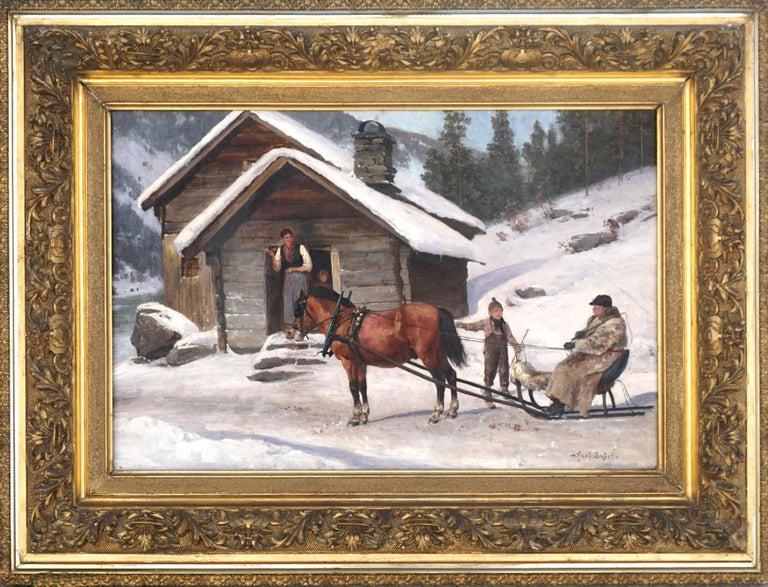 Winter's Visit Norwegian Scene By Axel Hjalmar Ender  - Painting by Axel Hjalmar Ender