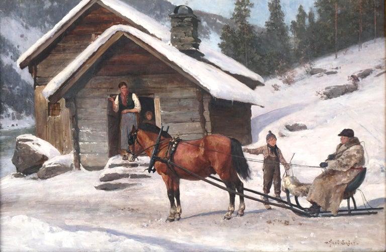 Winter's Visit Norwegian Scene By Axel Hjalmar Ender  - Impressionist Painting by Axel Hjalmar Ender