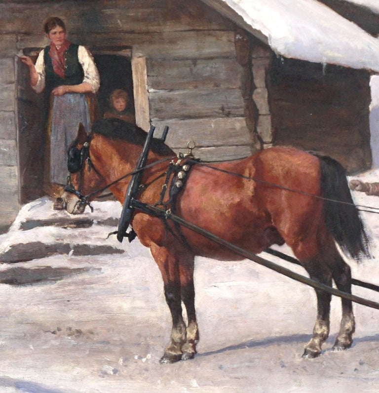 Wonderful turn-of-20th-Century winter's scene with horse sleigh and woman and son giving directions to the sleigh driver by Alex Hijalmar Ender (Norwegian, 1853-1920), circa 1880-1900 in an original CW Blomqvist period giltwood and gesso frame.