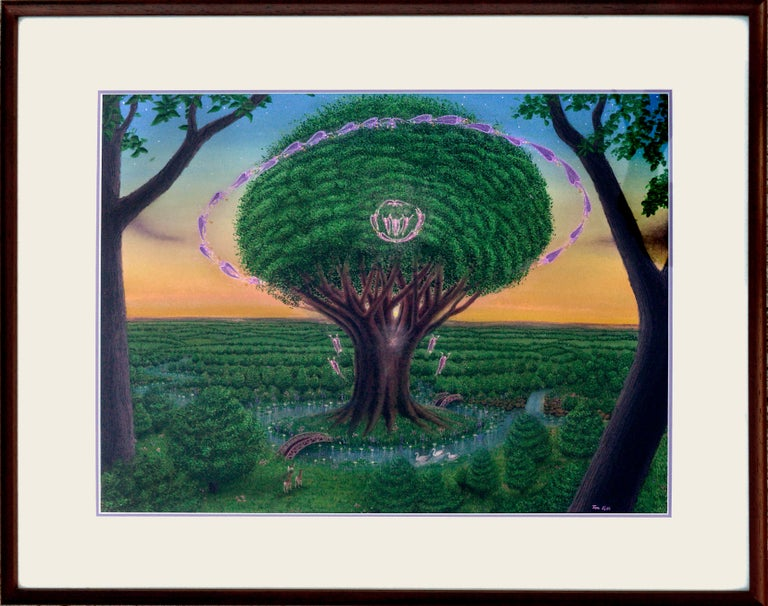 """Expressive Visionary Watercolor and Gouache painting of the Tree of Life by Tom Fath (American, 20th Century). Signed lower right """"Tom Fath"""" and on verso paper backing. Exhibited: 2017 """"The Minds I"""" Dalton-Warehouse Los Angeles. Image 15.5""""H x 30""""W,"""