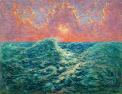 Fauvist Ocean Wave and Sunset by John Henry Ramm