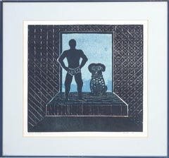 Night Friends Dog and Man Linocut by Ralph Moffett Arnold