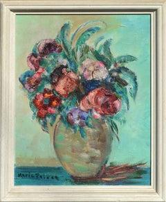 Mid Century Modern Anemone Floral Still Life