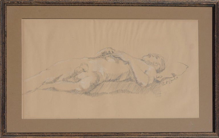 Peter R Gyesal Figurative Art - Prone Male Nude Study