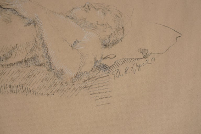 Wonderful Charcoal and conte crayon on paper of prone male nude. Signed and dated middle right