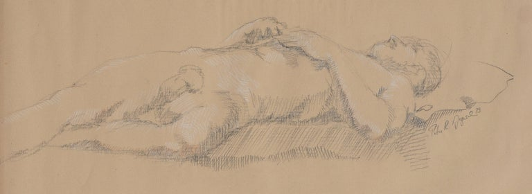 Prone Male Nude Study - American Impressionist Art by Peter R Gyesal