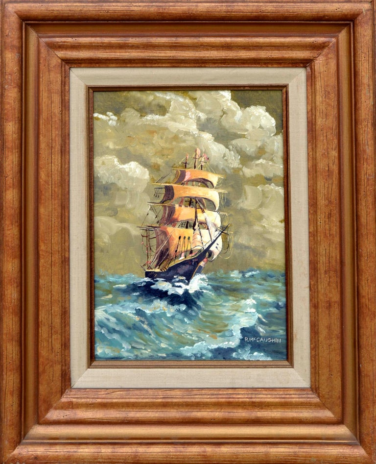 """Ron McCaughin Landscape Painting - Tall Ship Cruising """" Old Ironsides"""""""