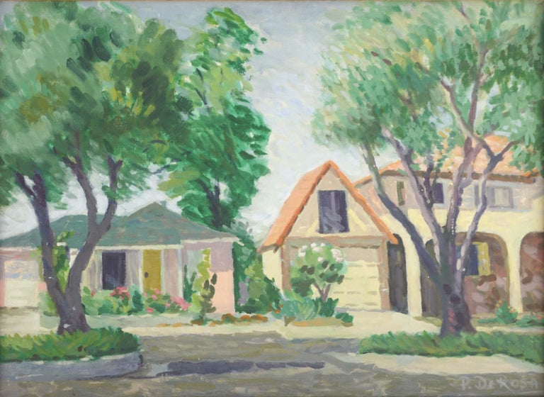 1970s Our Neighborhood Landscape - Painting by P. DeRosa