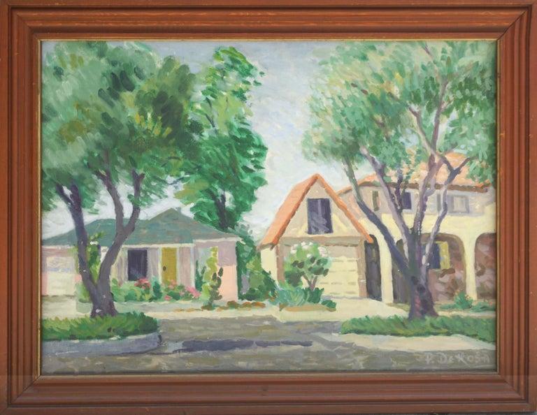 P. DeRosa Landscape Painting - 1970s Our Neighborhood Landscape
