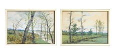 Late 19th C. River Birch Trees Landscape Pair