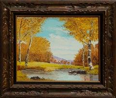 Mid Century Autumn Birch Trees and Stream Landscape